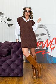 Цікава тепла туніка-жилет в'язка шоколадного кольору, розмір оверсайз 42-48