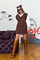 Интересная теплая туника-жилет вязка шоколадного цвета, размер оверсайз 42-48, фото 2