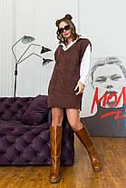 Интересная теплая туника-жилет вязка шоколадного цвета, размер оверсайз 42-48, фото 3