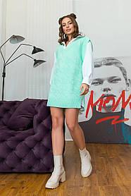 Офісний стильний жіночий жилет-туніка колір м'ята з візерунком, розмір оверсайз 42-48