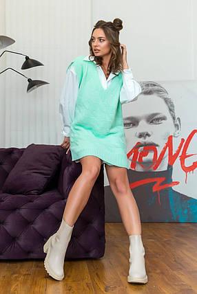 Офісний стильний жіночий жилет-туніка колір м'ята з візерунком, розмір оверсайз 42-48, фото 2
