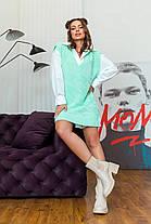 Офісний стильний жіночий жилет-туніка колір м'ята з візерунком, розмір оверсайз 42-48, фото 3