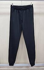 Спортивні штани чоловічі з манжетами однотонні чорні, фото 2
