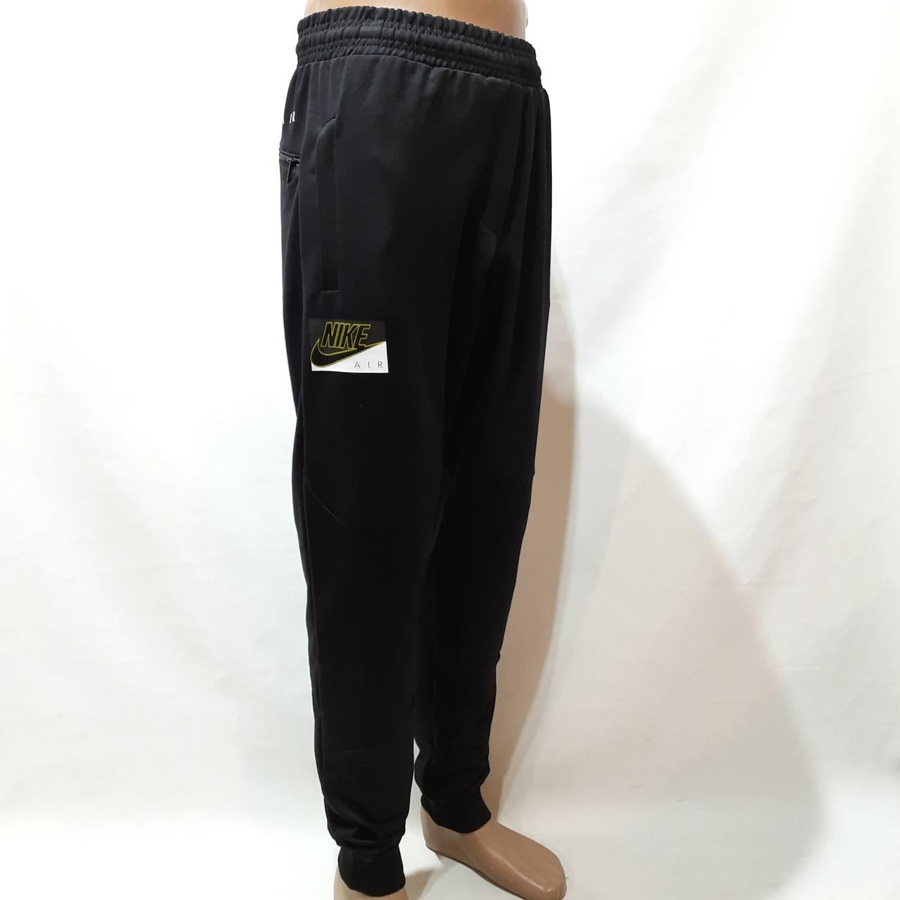 Мужские брюки спортивные весенние ( Норма ) в стиле Nike под манжет черные