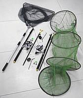 Спиннинги с катушками в Сборе 2шт Универсальный рыболовный набор + подсак, садок, подставки