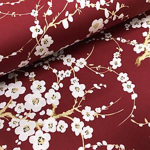 Ткань сатин с рисунком, веточки сакуры на красном (ТУРЦИЯ шир. 2,4 м)