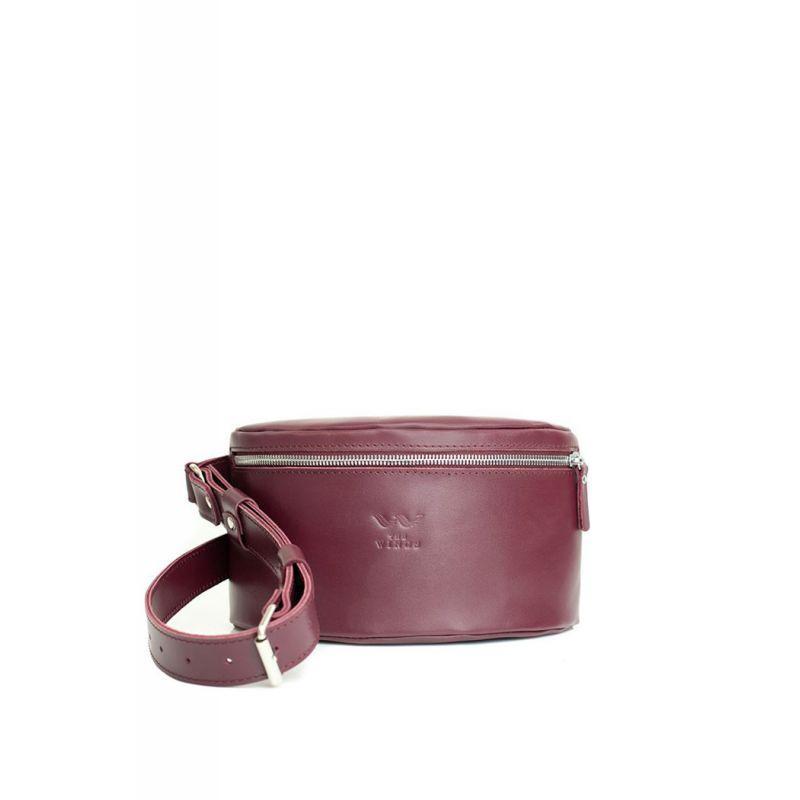 Кожаная поясная сумка бордовая Сумка премиум класса из натуральной кожи поясная Сумка поясная унисекс кожаная