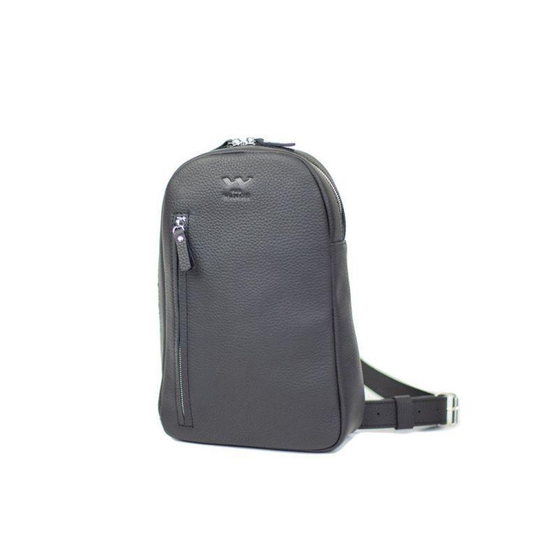 Чоловіча шкіряна сумка Chest bag чорна Стильна сумка преміум класу чоловікові Зручна чоловіча сумка шкіряна