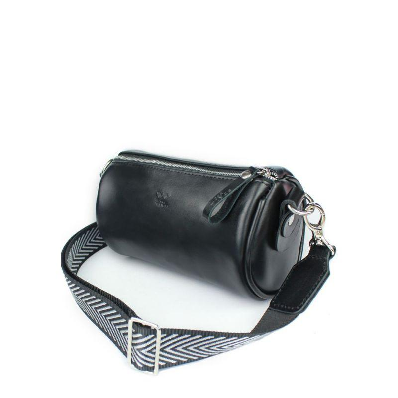 Шкіряна сумка поясна-кроссбоди Cylinder чорна Містка сумка на пояс або через плече люкс класу