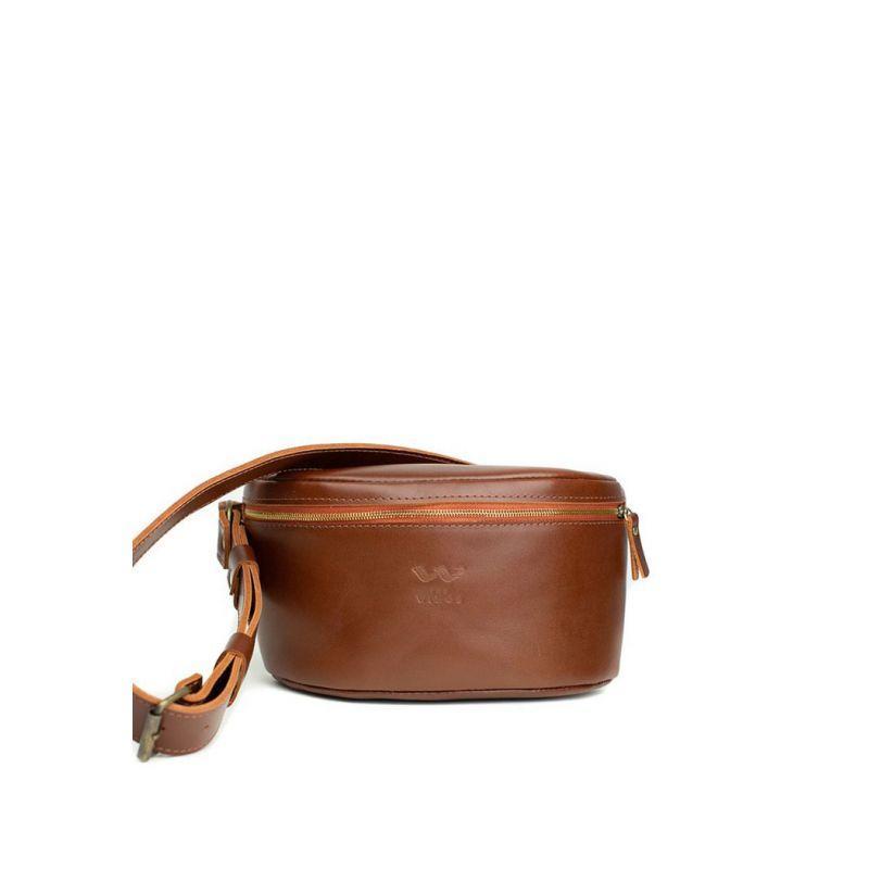 Поясна сумка Explorer S світло-коричнева Практична сумка на пояс унісекс Зручна поясна шкіряна сумка