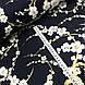 Ткань сатин с рисунком, веточки сакуры на темно-синем (ТУРЦИЯ шир. 2,4 м), фото 3
