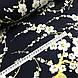 Ткань сатин с рисунком, веточки сакуры на темно-синем (ТУРЦИЯ шир. 2,4 м), фото 2