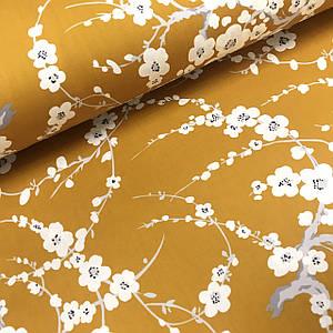 Ткань сатин с рисунком, веточки сакуры на горчичном  (ТУРЦИЯ шир. 2,4 м)