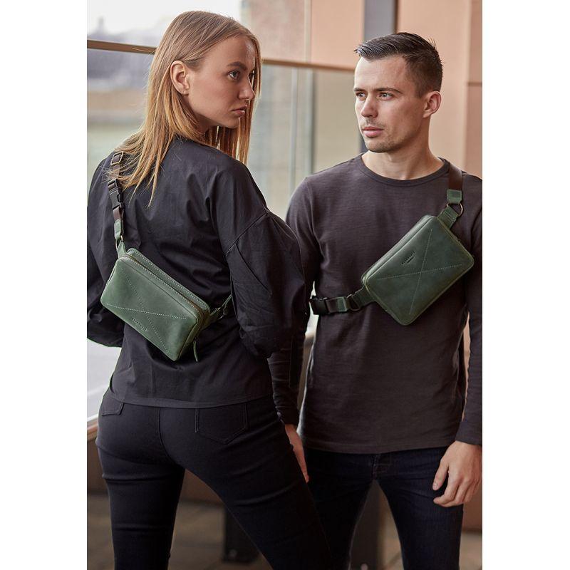 Шкіряна поясна сумка Dropbag Mini зелена Комфортна сумка на пояс Стильна поясна сумка унісекс люкс класу