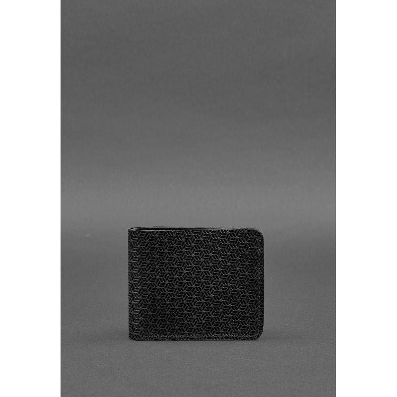 Чоловіче шкіряне портмоне 4.1 (4 кишені) чорне Карбон