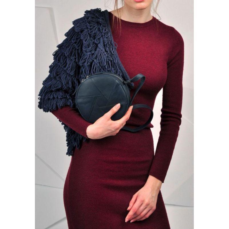 Кожаная круглая женская сумка Бон-Бон синяя Стильная женская сумка кроссбоди Круглая женская сумочка кожаная