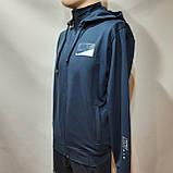 Мужская кофта весенняя с капюшоном в стиле Nike Турция cиняя, фото 2