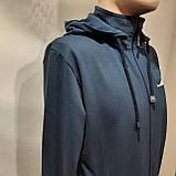 Мужская кофта весенняя с капюшоном в стиле Nike Турция cиняя, фото 5