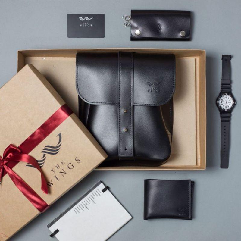 Подарочный набор кожаных аксессуаров Мужская кожаная сумка Деловой мужской кожаный набор