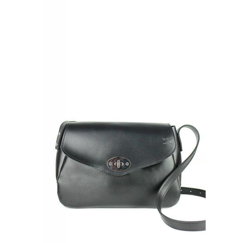 Жіноча шкіряна сумка Трапеція чорна Сумка жіноча преміум класу з натуральної шкіри Сумка через плече