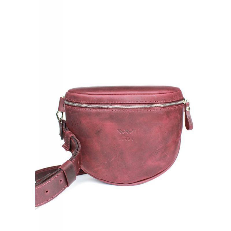 Кожаная сумка поясная-кроссбоди Vacation бордовая винтажная Универсальная сумка поясная из натуральной кожи