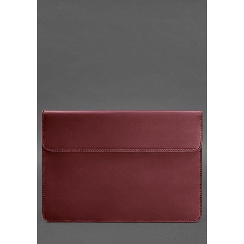 Кожаный чехол-конверт на магнитах для MacBook Pro 15-16'' Бордовый Crazy Horse