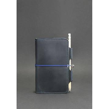 Шкіряний блокнот синій Шкіряний бізнес блокнот для чоловіка Шкіряний класичний блокнот Софт-бук