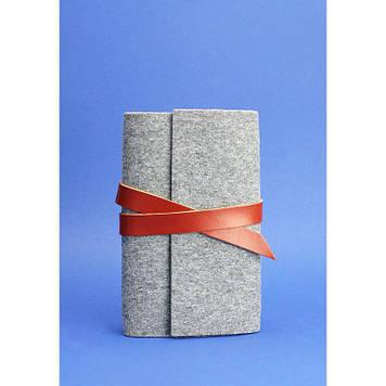 Фетровий блокнот для жінок (Софт-бук) Оригінальний блокнот з фетру і коричневими шкіряними вставками