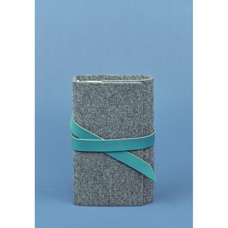 Фетровий жіночий блокнот (Софт-бук) з шкіряними бірюзовими вставками Блокнот ручної роботи з фетру