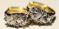 Серьги с позолотой, белый камень 34_1_126