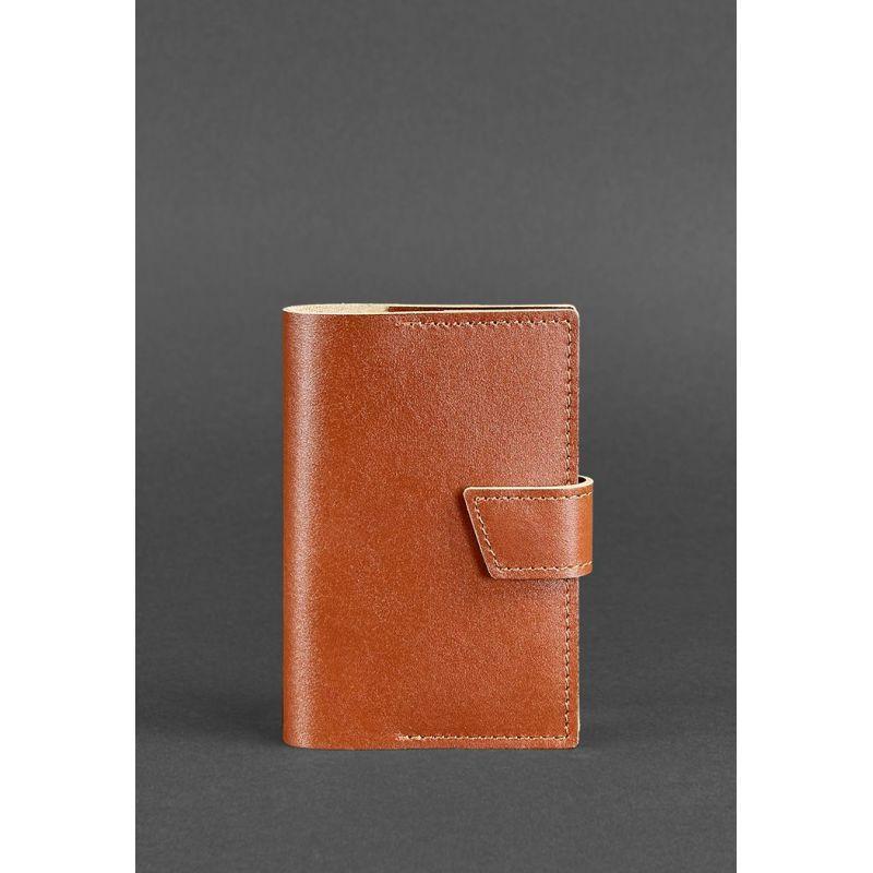 Шкіряна обкладинка для паспорта 4.0 світло-коричнева