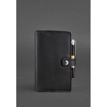 Шкіряний блокнот (Софт-бук) 4.0 чорний Шкіряний бізнес блокнот для чоловіка Якісний блокнот для жінки А5
