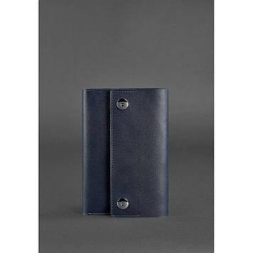 Шкіряний блокнот Софт-бук темно-синій Стильний блокнот з обкладинкою з натуральної шкіри Софт-бук ручної роботи