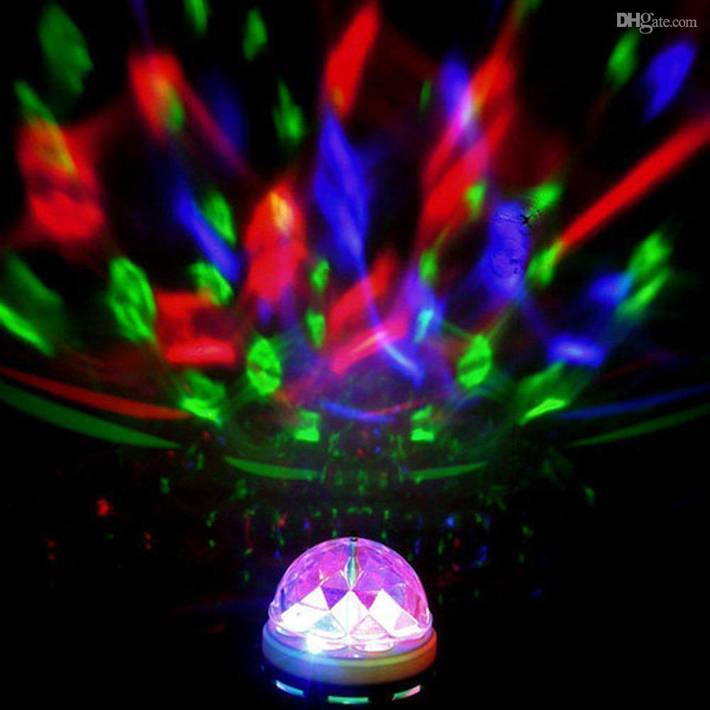 Вращающаяся цветная LED лампа, звуковая активация