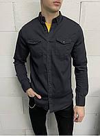 Рубашка джинсовая мужская стильная черная рубашка с длинным рукавом Турция на пуговицах
