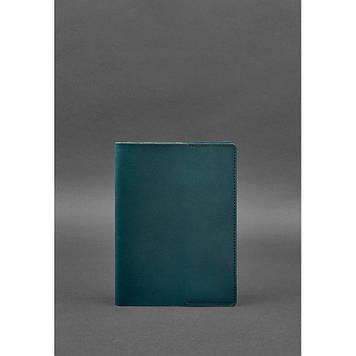 Шкіряна обкладинка для блокнота (софт-бук) зелена Обкладинка під блокнот з шкіри Презентабельна обкладинка