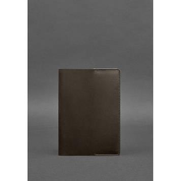 Шкіряна обкладинка для блокнота 6.0 (софт-бук) темно-коричнева Універсальна шкіряна обкладинка під блокнот