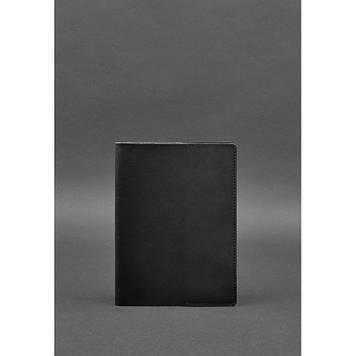 Шкіряна обкладинка для блокнот А5 (софт-бук) чорна краст Універсальна шкіряна обкладинка під блокнот