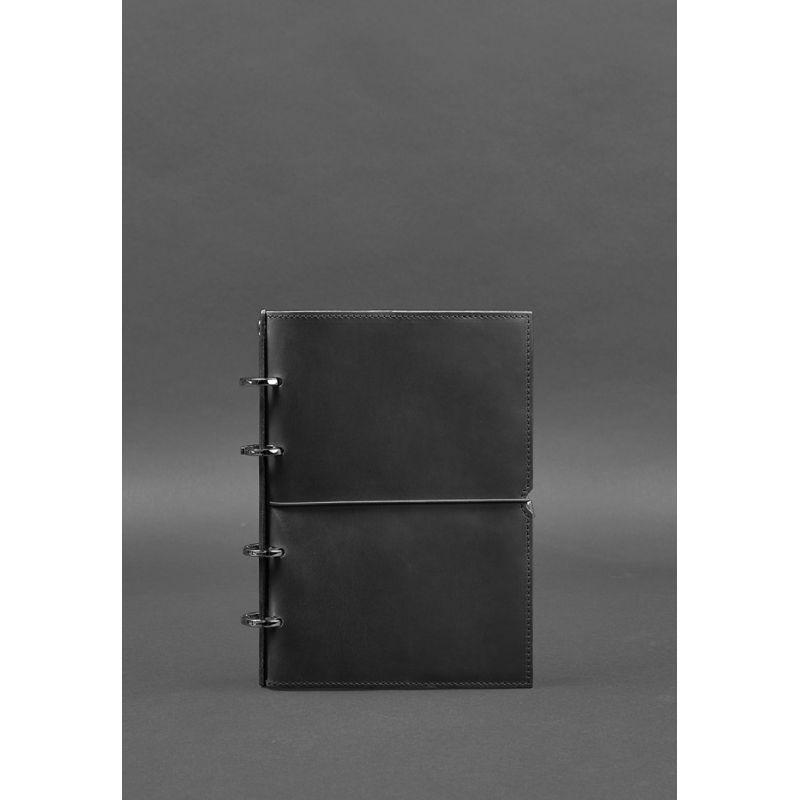 Кожаный блокнот на кольцах в мягкой черной обложке Блокнот премиум класса на кольцах Кожаный софт-бук
