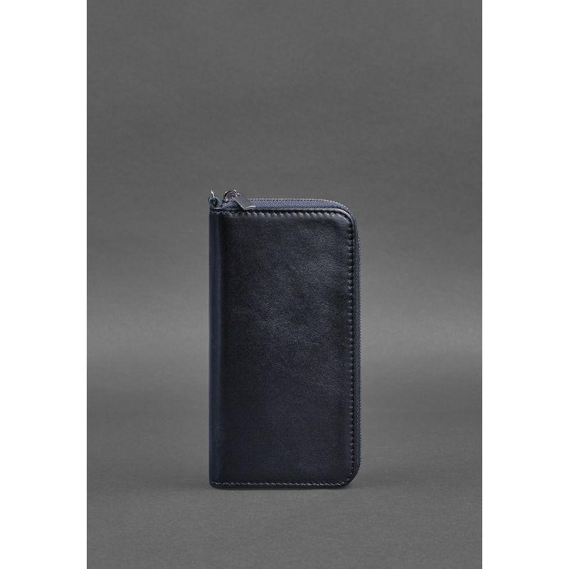 Кожаное портмоне на молнии 6.1 Темно-синее