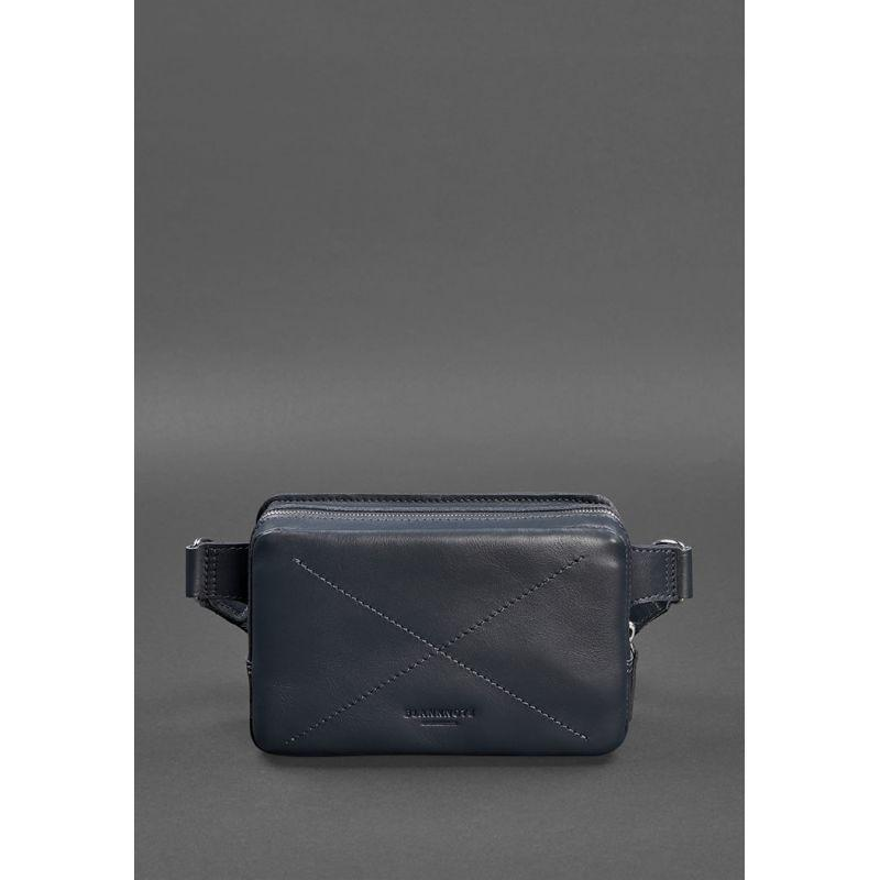 Шкіряна поясна сумка Dropbag Mini темно-синя Модна поясна сумка для чоловіків і жінок Стильна поясна сумка