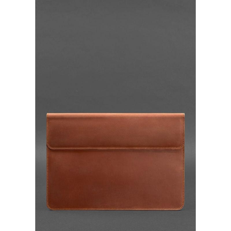 """Шкіряний чохол-конверт на магнітах для MacBook Air/Pro 13"""" Світло-коричневий"""
