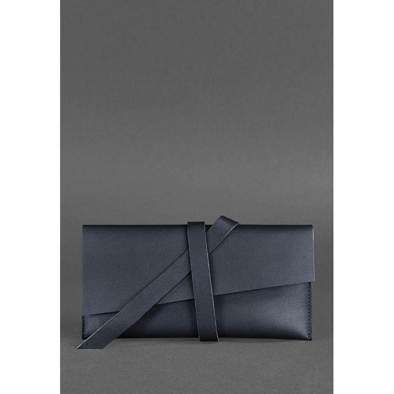 Кожаный тревел-кейс темно-синий Стильный тревел-кейс для женщин Холдер для документов из натуральной кожи