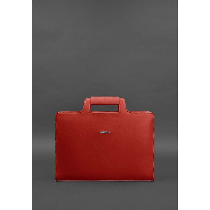 Женская кожаная сумка для ноутбука и документов красная Стильная деловая сумка премиум класса для женщин