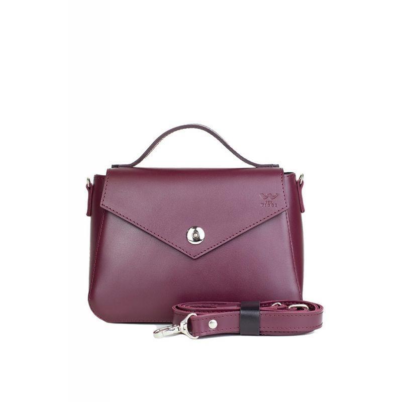 Женская кожаная сумочка Lili бордовая Стильная женская сумка через плечо люкс класса из натуральной кожи