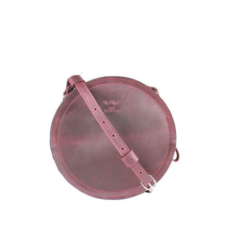 Красива сумка кругла для дівчат Жіноча шкіряна сумка Amy S бордова Кругла жіноча сумка через плече