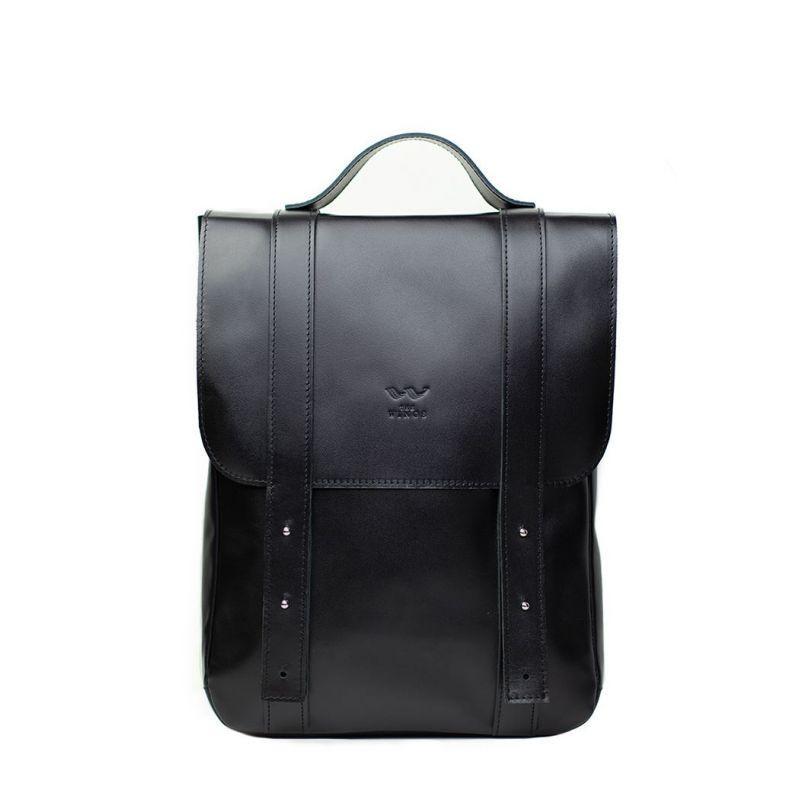 """Кожаный рюкзак 15"""" черный"""