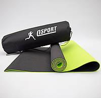 Коврик для йоги и фитнеса + чехол (мат, каремат спортивный) OSPORT Yoga ECO Pro 6мм (n-0007) Черно-салатовый