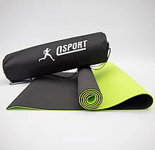 Килимок для йоги та фітнесу + чохол (мат, каремат спортивний) OSPORT Premium TPE 6мм (n-0007) Чорно-салатовий