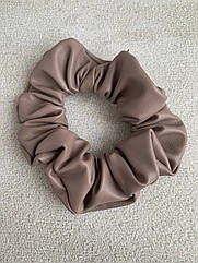 Жіноча резинка для волосся з еко-шкіри, об'ємна шкіряна резинка бежева (капучіно), резинка кожаная бежевая